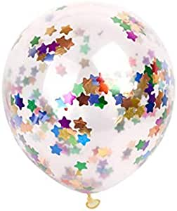 20pcs Star Confetti Balloons - 12 Inch Clear Latex Balloons with Star Confetti - Decoration for Birthday Wedding Christmas Photo