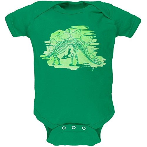 Price comparison product image Old Glory Dinosaur Fossil Stegosaurus Soft Baby One Piece Kelly Green 3-6 M