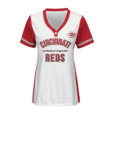 MLB Cincinnati Reds Women's Team Name Rugged Competitor Pull Over Color Block Jersey, X-Large, White/Athletic Red