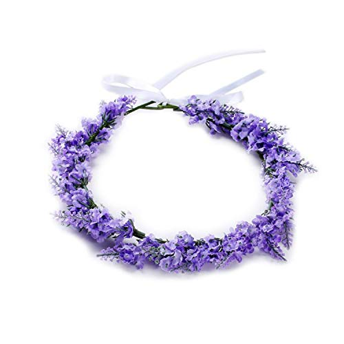 Simulated Flower Headband Lavender Floral Hair Band Garland Tiara Crown Women Jewelry Headdress For Wedding Party Prom Engagemen,Light -