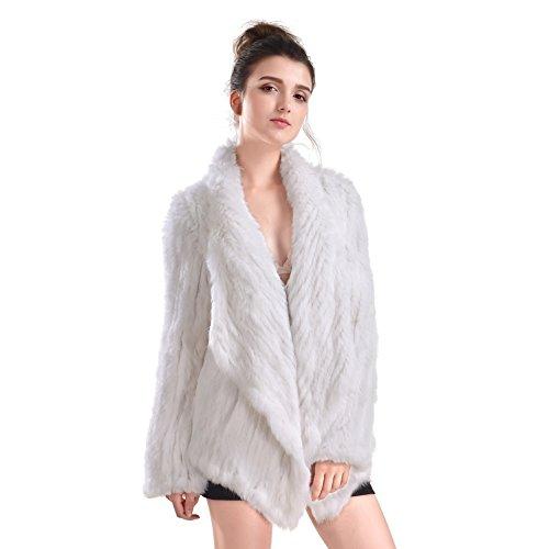 Piel Invierno Abrigo Con Mujer De Real Conejo Chaqueta Blanco Bolsillo Punto Para Outwear ZWwU51q8wg