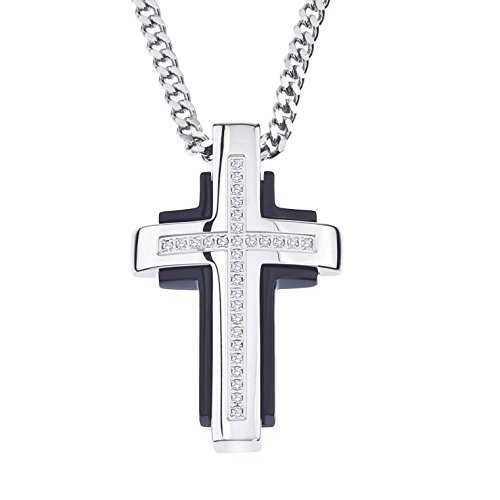 AX Jewelry Diamond Cross Pendant in Stainless Steel (0.15 carats)