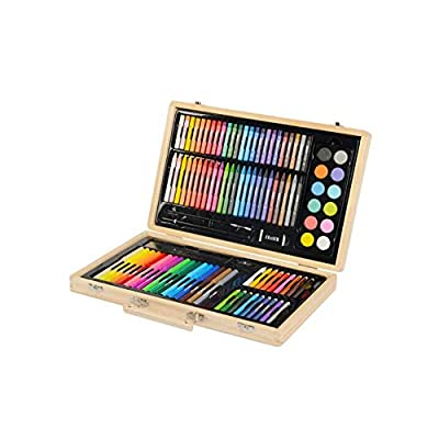 Gaoxingbianlidian Painting Brush, 197 Double-Layer Wooden Box for Children/Adults with Brush Set, Watercolor Pen/Crayons/Oil Pastels/Color Lead Painting Set (101 Pieces / 106 Pieces / 132 Pieces