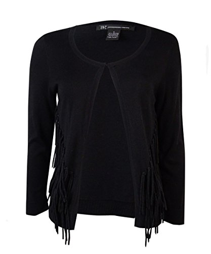INC Womens Fringe 3/4 Sleeves Cardigan Sweater Black L (Inc Black Cardigan compare prices)