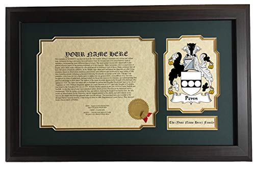 Penn - Coat of Arms and Last Name History, 14x22 Inches Matted and - Coat Penn