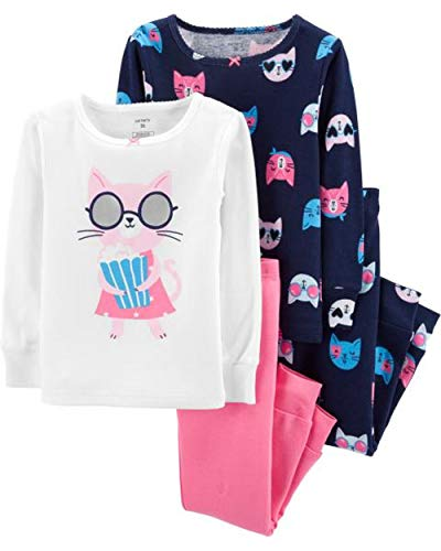 Carter's Baby Girls' 4 Pc Cotton (4T, Cool Kitty) (Pajama Shoes)