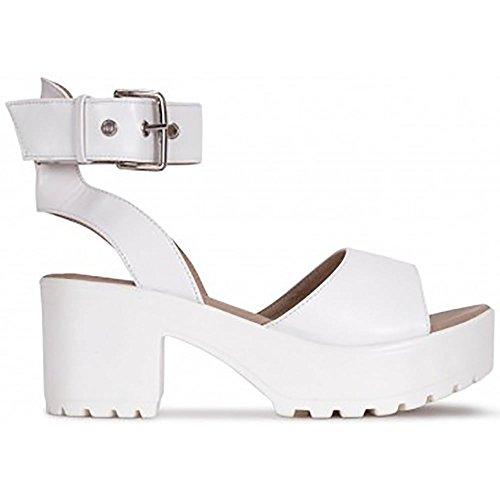 Chaussures AUS7 de Hauts Formes UK6 Cheville EURO39 Sangle Tasseaux de 3 Plates USA8 Sandales Blanc Manchette Talons Lanières 8 dXETAx