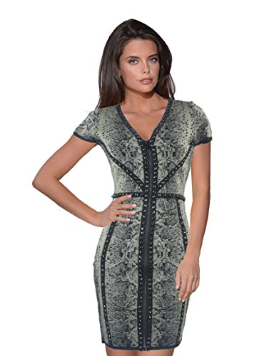 cache-womens-python-studded-zipper-stretch-rayon-knit-dress-petite-regular-sizes-l-regular-olive-bla