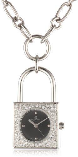 Charles-Hubert, Paris Women's 6722-B Lock-Shape Swarovski Crystal Steel Pendant Watch