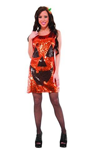 (Delicious Sequin Front Pull Over Dress Pretty Pumpkin, Multi,)