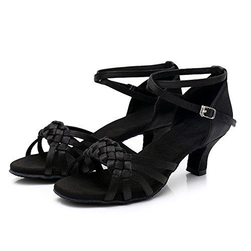 Ballroom Latin Tacón 5cm Negro LP218 de SWDZM Mujer Baile Zapatos modelo UXPqP1
