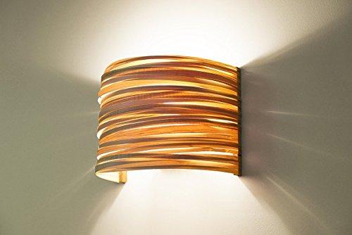 Modern Decorative Wall Light Fixture, Bedroom Wall Lamp - Maple Wood Veneer Lampshade