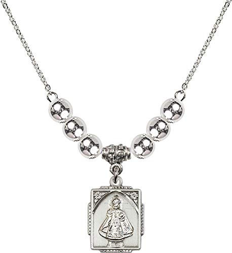 Bonyak Jewelry 18 Inch Rhodium Plated Necklace w/ 6mm Sterling Silver Beads and Infant of Prague Charm