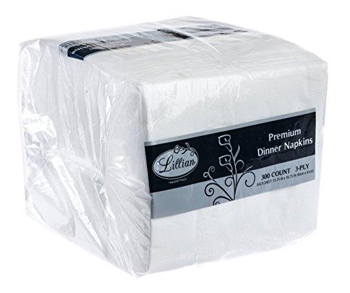 Premium Dinner Napkins 2 Ply - Premium White Napkins, 3 Ply Dinner Napkin Cloth Like   Value Pack 300 Count