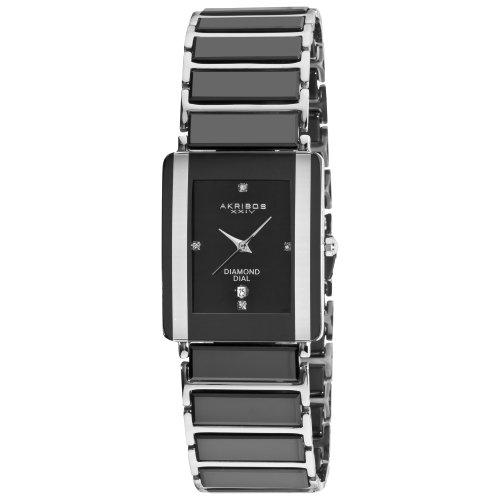 ceramic watches stylish ceramic watches akribos xxiv men s ak521bk ceramic rectangular quartz bracelet watch