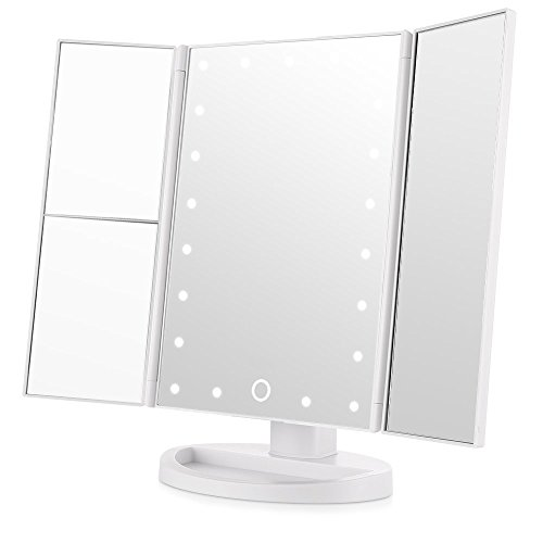 Winfi Trifold Lighted Vanity Mirror,Battery Electric&USB Chargeable Bathroom Vanity Mirror With LED Lights, Portable Makeup Vanity Mirror With Touch Screen,3X/2X/1X Magnification(21 LED Lights,White)