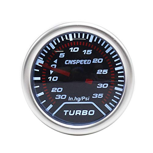12V 2'' 52mm Auto Turbo Boost Gauge -30 In.hg~35 Psi Smoke Lens With Light Turbo Boost Gauge Meter for Car Truck Boat: