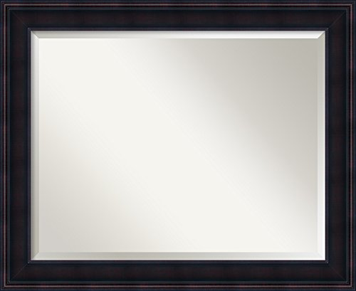 Amanti Art Vanity Bathroom Wall | Annatto Mahogany Frame | Solid Wood Mirror |, 22 x 28 glass size,