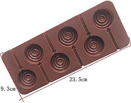 6 Zellen Runde Lollipop Silikon Schokoladenform DIY Kuchen Dessert Süßigkei X9B8
