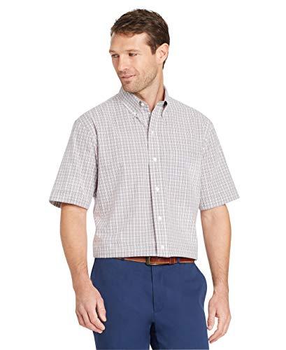 Arrow 1851 Men's Hamilton Poplins Short Sleeve Button Down Plaid Shirt, Alloy, Large from Arrow 1851