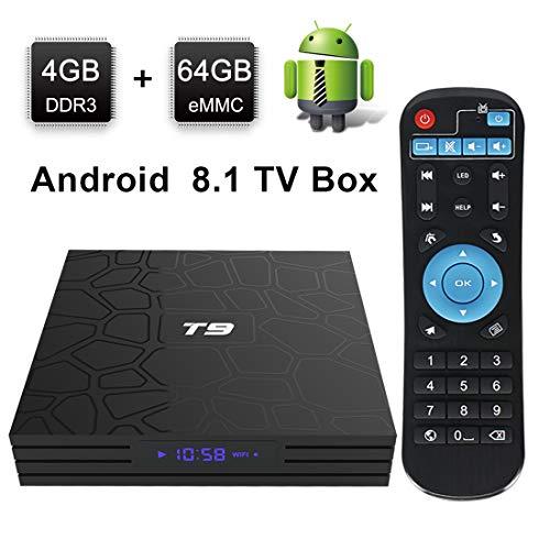 Android TV Box, HAOSIHD T9 Android 8.1 TV Box,4GB RAM 64GB ROM RK3328 Quad-core, Support 4K Full HD 2.4Ghz WiFi BT 4.1 Smart TV Box (black1)