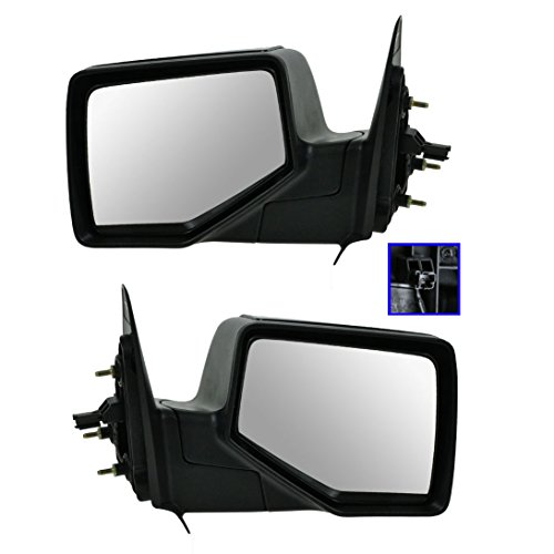 Smooth Black Power Mirrors Pair Set LH RH for 06-11 Ford Ranger