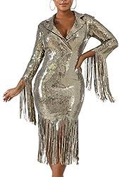 Beige Colour Sequin Dress Deep V Neck & Long Sleeve