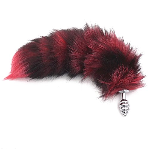 Joycentre Red Faux Fox Tail Stainless Steel Fun Plug Romance Games Play Party Toy Love Gift for High Happy,Style 3 (S)