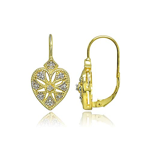 Gold Flash Sterling Silver Diamond Accent Filigree Starburst Heart Leverback Drop Earrings