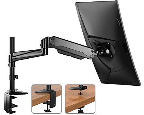 HUANUO Monitor Mount Stand – Single Arm Gas Spring Monitor Desk Mount Height Adjustable VESA Bracket for 17 to 32 Inch Computer Screen – Holds up to 17.6lbs with C Clamp Bolt-Through Grommet Base