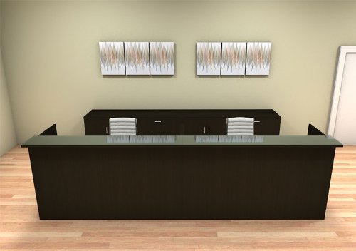 2pc 12' Feet Modern Glass Counter Reception Desk Set, #CH-AMB-R14 (CABINETS NOT INCLUDED in the back) by UTM