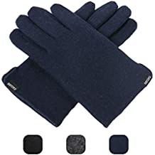 CACUSS Men's Winter Wool Knit Gloves Touchscreen Texting Finger Tips with Warm Fleece Lining