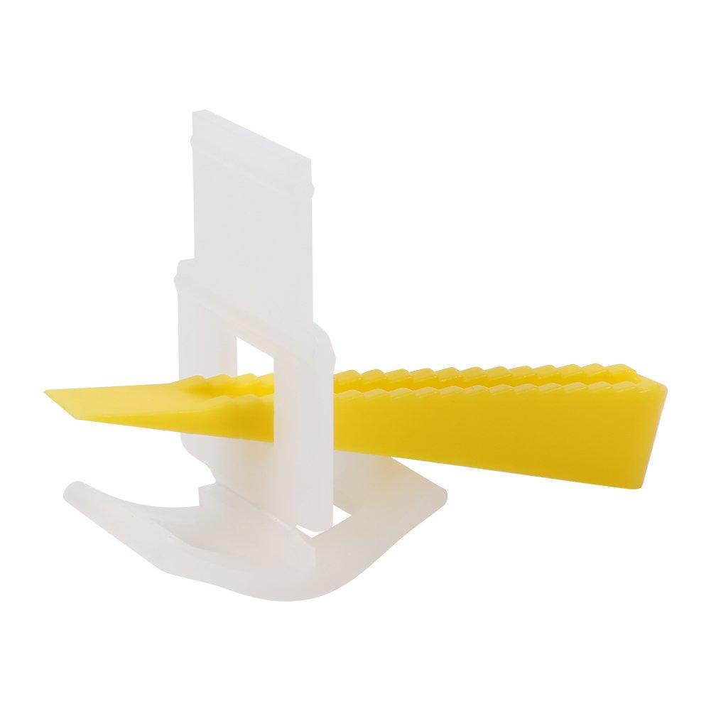 Entretoises de nivellement de carrelage 500 Clips + 200 clavettes Systè me de nivellement de Carreaux de Sol en Plastique Professionnel Outils d'alignement Plats ré utilisables Garosa