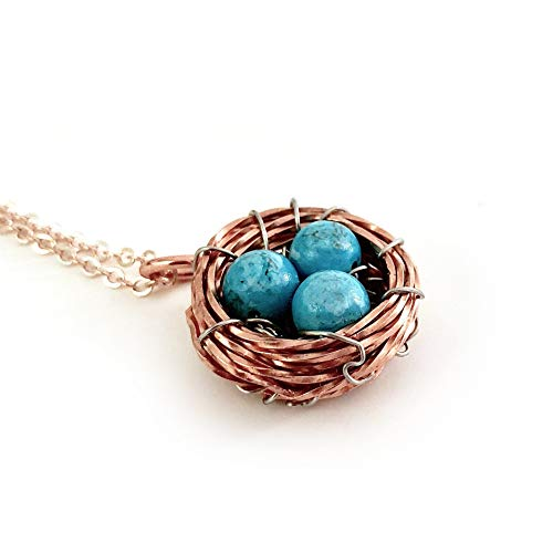 Genuine Turquoise Gemstone Handmade Bird's Nest Pendant - Blue Copper Wire Wrapped Handmade Jewelry - Bird's Nest Pendant - Mother's Day, Gift for Women, Gift for Mother, New Baby, Birthday - Bird Gemstone