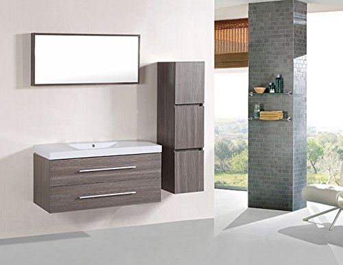 Decoraport 40 In. Wall Mount Bathroom Vanity Set with Single Sink and Mirror (A-T5167A) by Decoraport (Image #2)