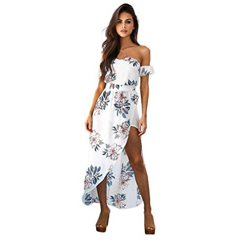 Vestido Para Mujer, Ouneed Mujer Vintage Fuera del hombro largo noche fiesta playa vestido floral Blanco