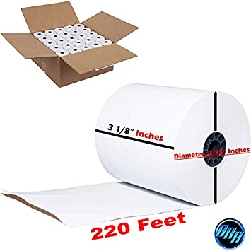 Thermal Paper Rolls 3 1//8 x 230 50 CC Receipt Paper per PackBPA Free
