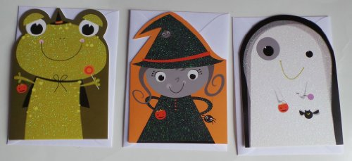 Greeting Card Halloween Note Cards (3) Frog, Witch, Ghost