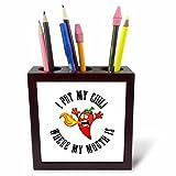 chili pen - 3dRose Carsten Reisinger - Illustrations - Funny Hot Pepper Chili I Put My Chili Where My Mouth Is - 5 inch tile pen holder (ph_261542_1)