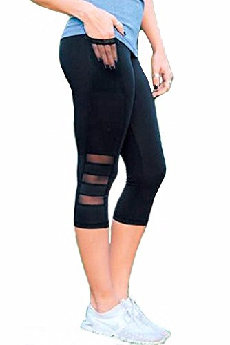 CFR Women's High Waist Yoga Leggings Sport Fitness Running Sexy Capri Pants Workout Cropped Trousers with Pocket Mesh Black,L UPS Post Cropped Pocket