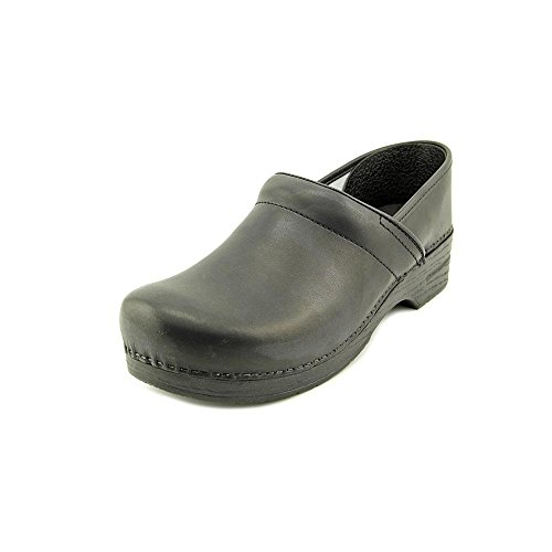 Stapled Clog Collection Women's Box Leather Clog- Black- 45 ()