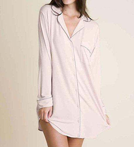 Eberjey Women's Gisele Sleep Shirt, Sorbet Pink/Pebble, Medium