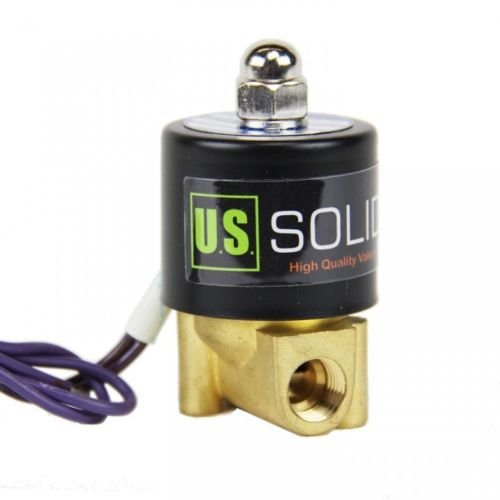 "1/4"" NPT Brass Electric Solenoid Valve 12VDC Normally Closed VITON (standard USA pipe thread). Solid Brass, Direct Acting, Viton Gasket Solenoid Valve by U.S. Solid."