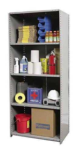 Hallowell 5720-18HG Heavy-Duty Closed Hi-Tech Shelving Starter Unit with 5 Adjustable Shelves, Hallowell Gray Steel, 48