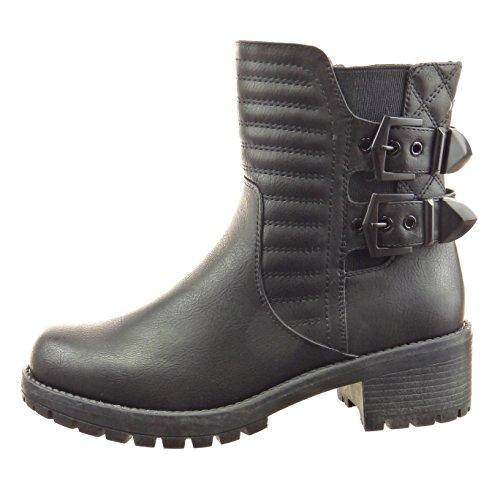 Sopily - damen Mode Schuhe Stiefeletten Chelsea Boots Biker Fertig Steppnähte Schleife Linien - Schwarz