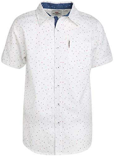 - Ben Sherman Boys Short Sleeve Button Down Shirt (White/Dots, 10/12)'