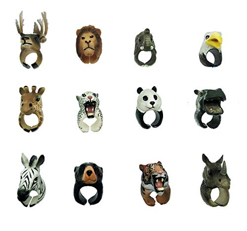 GIFTEXPRESS Wild Jungle Animals Toys Rings for Zoo Learning Party Favors Kids Boys and Girls Realistic Made: Tiger Leopard Lion Giraffe Zebra Elephant Panda Eagle. Set of 12 Animal Toys
