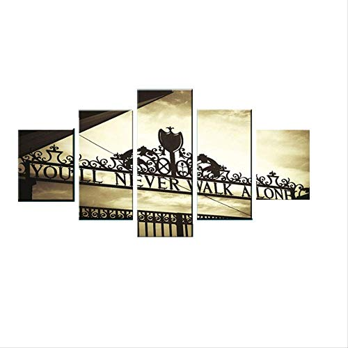 DGGDVP 5 Piezas de You Are Never Alone Canvas Art Cuadros Decoracion Dormitorio Landscape Canvas Painting tamano 1 sin Marco