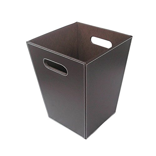 Leather Waste Bin (KINGFOM Classic Leather Trash Cans Waste Paper Basket, Storage Bin for Bathroom, Kitchen, Office and High Class Hotel (Brown, Square))