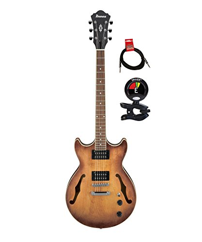 Ibanez AS53TF Artcore Semi Hollow Body 6 Strings Electric Guitar Package with Guitar Tuner and Instrument Cable – Tobacco Flat